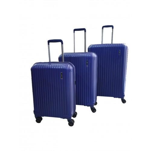 Σετ 3 Βαλίτσες Ταξιδιού ABS με Τηλεσκοπικό Χερούλι, Ροδάκια και Κλείδωμα Ασφαλείας σε Μπλε χρωμα - blue19155